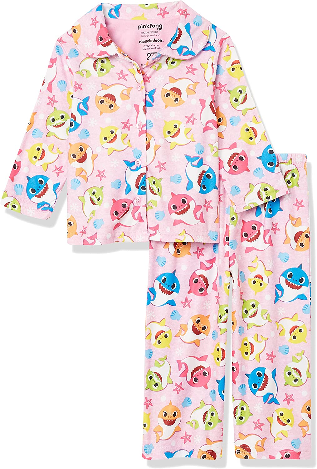 Nickelodeon Girls' Baby Shark Button Front Pajama Set: Clothing, Shoes & Jewelry