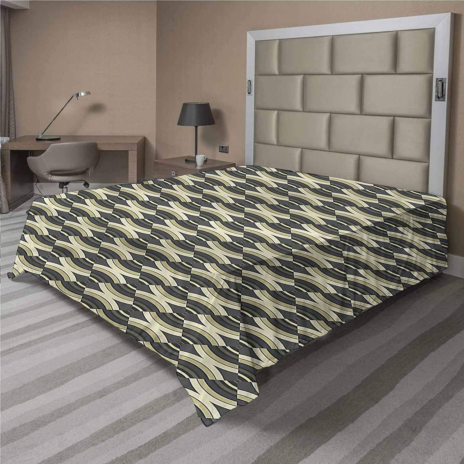 LCGGDB Brand new Geometric 40% OFF Cheap Sale Flat Sheet Only Pale B Brushed Lines Microfiber