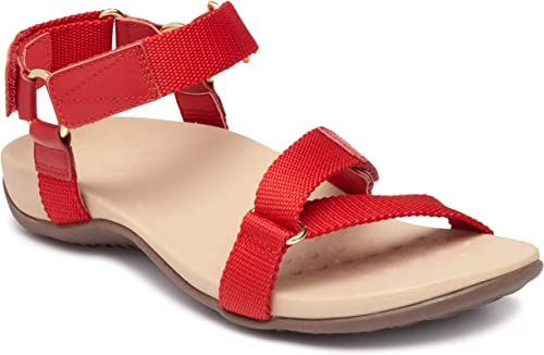 Vionic Wohommes Rest Candace Backstrap Sandal - Ladies Sandals with Concealed Orthotic Arch Support Cherry 5 M US