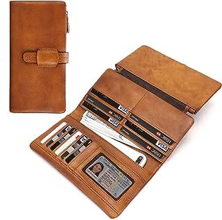 Women's Wallets RFID Blocking Vintage Genuine Leather Clutch Card Organizer Purse (Brown)