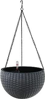 TABOR TOOLS Self-Watering Hanging Planter for Indoor-Outdoor. Wicker-Design, 10 Inch Diameter Plastic Weave Basket with Water Level Indicator Gauge. TB707A. (Grey)