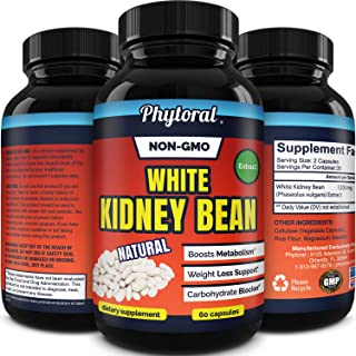 White Kidney Bean Supplement Pills Pure Extract Starch Carb Blocker Weight Loss Formula - Lose Belly Fat Suppress Appetite...