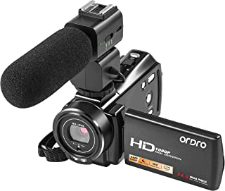Video Camera Camcorder FHD 1080P 30FPS 24MP YouTube Vlog Camera with Microphone, Night Vision Camcorders 3.0 Inch 270 Degree Rotation 16X Zoom Remote Control Digital Video Recorder, 2 Batteries