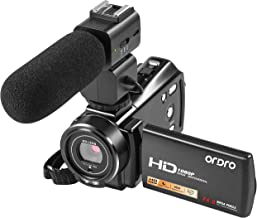 Video Camera FHD 1080P 30FPS 24MP, ORDRO V7 Plus Video Recorder for YouTube&Vlog with Microphone, 3.0 Inch 270 Degree Rotation 16X Zoom Remote Control Digital Video Recorder, 2 Batteries