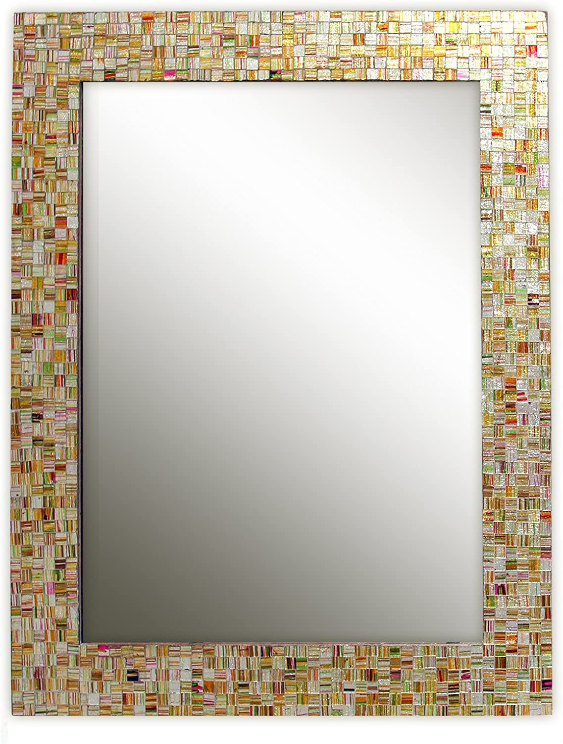 Eclectic Bohemian Recommended Rhapsody Ranking TOP16 Rainbow Mirror Glass Striped -Golden