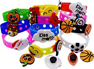 XHAOYEAHX 20pcs Shoe Decoration Croc Charms of Rugby Football Basketball Crab Fish Halloween Pumpkin Lollipop Santa claus Kiss me for Silicone Bracelet +11Pcs 7.08in Kids Adjustable Silicone Wristband
