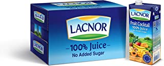 Lacnor Essentials Sugar Free Fruit Cocktail Nectar Juice, 12 x 1 Liter
