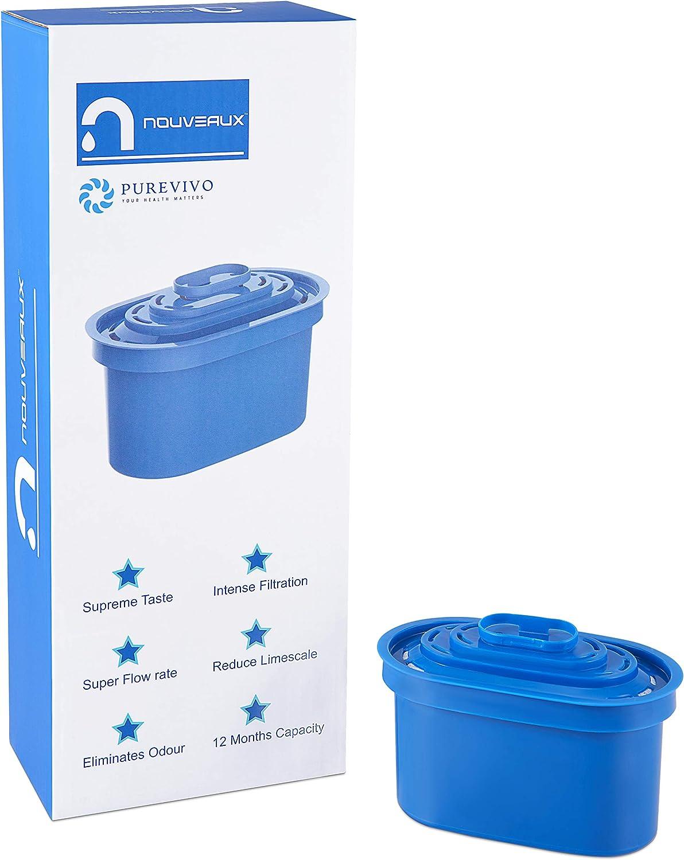 1 Anno di Fornitura di 4x90 Giorni Cartucce di Ricambio Solo per caraffe filtranti per Acqua NOVEAUX nouveaux NOVEAUX Carridge di filtri per lacqua