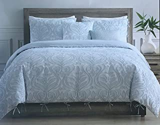 Tahari Home Maison Bedding Queen Size Luxury 3 Piece Duvet Comforter Cover Set Textured Woven Cotton Clip Jacquard Modern Abstract Pattern Darker Blue Thread on Lighter Blue - Zaha, Blue
