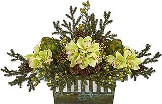 Nearly Natural Cymbidium Orchid, Artichoke, Pine and Berries Artificial Silk Arrangements Green
