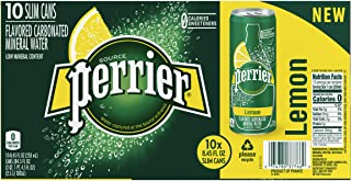 Perrier Carbonated Spring Water With Natural Lemon Flavor Slim Can, 10 x 250 ml