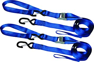S-Line XC108-2P Heavy Duty Motorsports Cam Buckle Strap Soft Tie with S-Hooks and Keeper Clip, 1-1/4-Inch by 8-Feet, 400-Pounds Working Load, 2-Pack