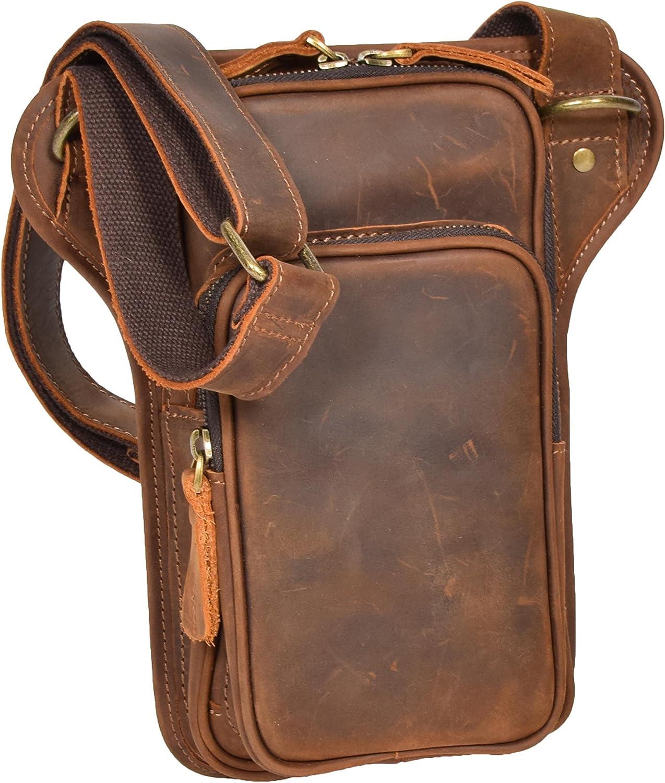 Vintage Leather Cross Body Sling Bag Slim Holster Travel Flight Pouch H8158 Tan