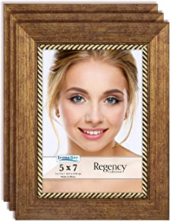 Icona Bay 5x7 Picture Frame (3 Pack, Copper Brown), Brown Photo Frame 5 x 7, Wall Mount or Table Top, Set of 3 Regency Collection