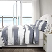 Lush Decor, Stone Gray Rawson Stripe 3 Piece Duvet Cover Set, Full/Queen
