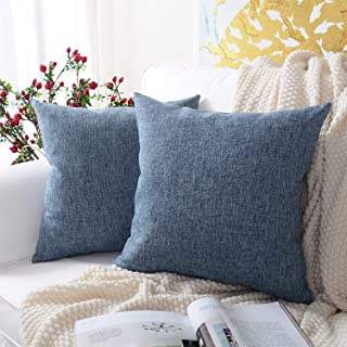 MERNETTE Pack of 2, Cotton Linen Blend Decorative Square Throw Pillow Cover Cushion..