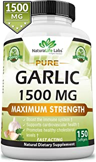 Pure Garlic 1,500 mg per Soft Gel Maximum Strength 150 Soft gels Promotes Healthy Cholesterol Levels Immune System Support