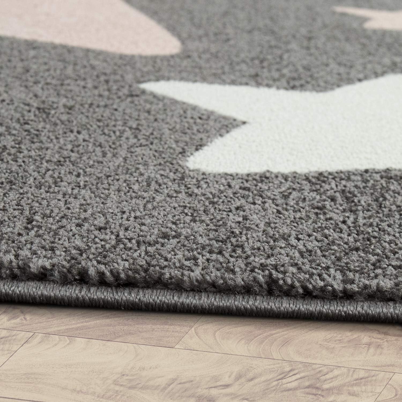 Gr/össe:/Ø 120 cm Rund Paco Home Teppich Kinderzimmer Kinderteppich Gro/ße Und Kleine Sterne In Grau Rosa