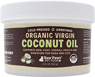 Raw Paws Organic Virgin Coconut Oil for Dogs & Cats - Supports Immune System, Digestion, Oral Health, Thyroid - All Natural Allergy Relief for Dogs, Hairball Relief, Tick Flea Control for Dogs
