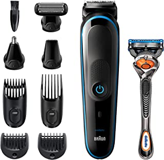 Braun All-in-one trimmer MGK5280, 9-in-1 Beard Trimmer, Hair Clipper, Ear and Nose Trimmer, Body Groomer, Detail Trimmer, Rechargeable, with Gillette ProGlide Razor, Black/Blue