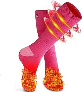 Babutenlo Chaussettes Chauffantes pour Homme et Femme Chaussettes Rechargeable Thermiques Chauffe-Pieds pour Ski Camping Randonn/ée P/êche 2 Batteries Incluses
