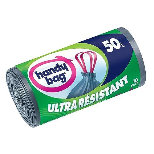 Handy Bag Rouleau de 10 Sacs Poubelle 50 L, Poignées Coulissantes, Ultra Résistant, Anti-Fuites, Gris Foncé, Opaque
