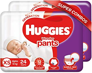 Huggies Wonder Pants Extra Small / New Born (XS / NB) Size Diaper Pants Combo Pack of 2, 24 count, with Bubble Bed Technol...