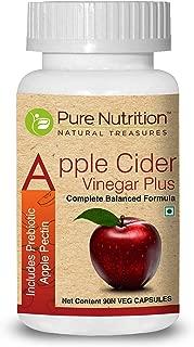 Pure Nutrition Apple Cider Vinegar Plus, Includes Prebiotic Apple Pectin, Aids in Weight Management, 600mg - 90 Veg Capsules