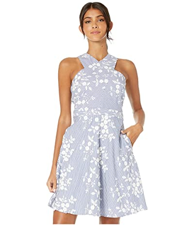 Sam Edelman Embroidered Stripe Crisscross Neck A-Line Dress (Blue/White) Women