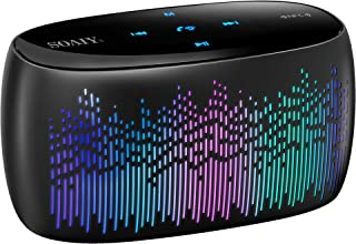 SOAIY Bluetooth Speaker, Portable Smart Touch Wireless Bluetooth Speaker with Microphone, LED Colorful Light Modes, Loud Stereo Sound, Rich Bass, Long Playtime, SD Card, AUX& NFC Support (S52 Black)