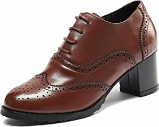Brown Perforated Lace-up Wingtip Leather Pump Oxfords Vintage Oxford Shoes Women BR 5.5