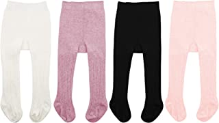 Zando Soft Baby Tights Seamless Cable Knit Infant Tights for Baby Girls Leggings Stockings Newborn Pantyhose Winter Clothes Toddler Warm Socks 4 Pack - Colorful Mixed A 0-6 Month