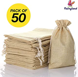 FLAIRYLAND 50 Pcs 4.7 x 7.5 inch Linen Burlap Bags with Jute Drawstring for GiftBags Wedding Party Favors Jewelry Pouch, ChristmasBirthday Presents, Snack Sacks and DIY Craft Arts Projects