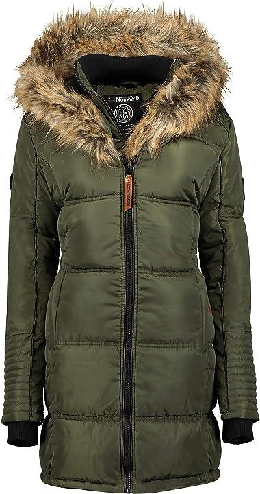 Geographical norway belissima - parka invernale da donna, con cappuccio in pelliccia WR828F/GN