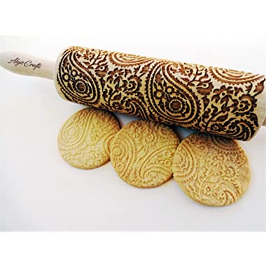 PAISLEY EMBOSSING ROLLING PIN PAISLEY PATTERN LASER ENGRAVED for EMBOSSED COOKIES GIFT for MOTHER FRIEND