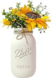 Sunflower Mason Jar Centerpiece, Ivory Painted and Distressed Quart 32 oz. Mason Jar, Silk Sunflowers