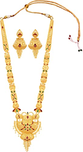 Party One Gram Gold Forming Premium Long Haram Multi Color Jewellery Necklace Juelry jwelry Set Jewellery for Women