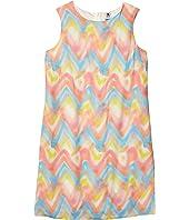 Spray Print Chevron Sleeveless Shift Dress