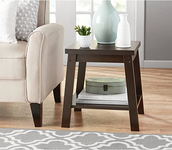 Sturdy Small Side Table With Open Shelf For Storage Set Of 2 Espresso