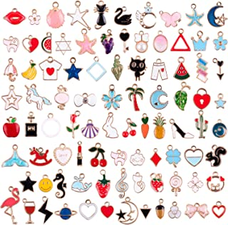 Duufin 90 Pieces Charms Assorted Gold Plated Enamel Charm Animal Moon Star Fruit Mixed Charms for Bracelet Necklace Jewelry Making