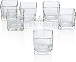 Clear Glass Square Votive Candle Holders Set of 12
