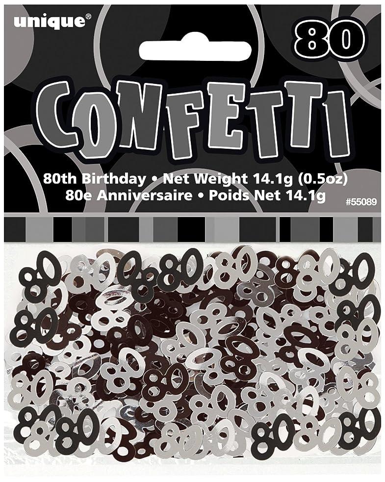 Black & Silver Sparkle Happy 80th Birthday Confetti Foil Sprinkles
