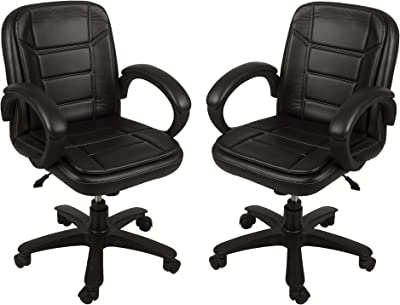 DZYN Furnitures Fabsy Interiors Baxton Medium Back Office Chair In Steel Finish (Standard, Black)