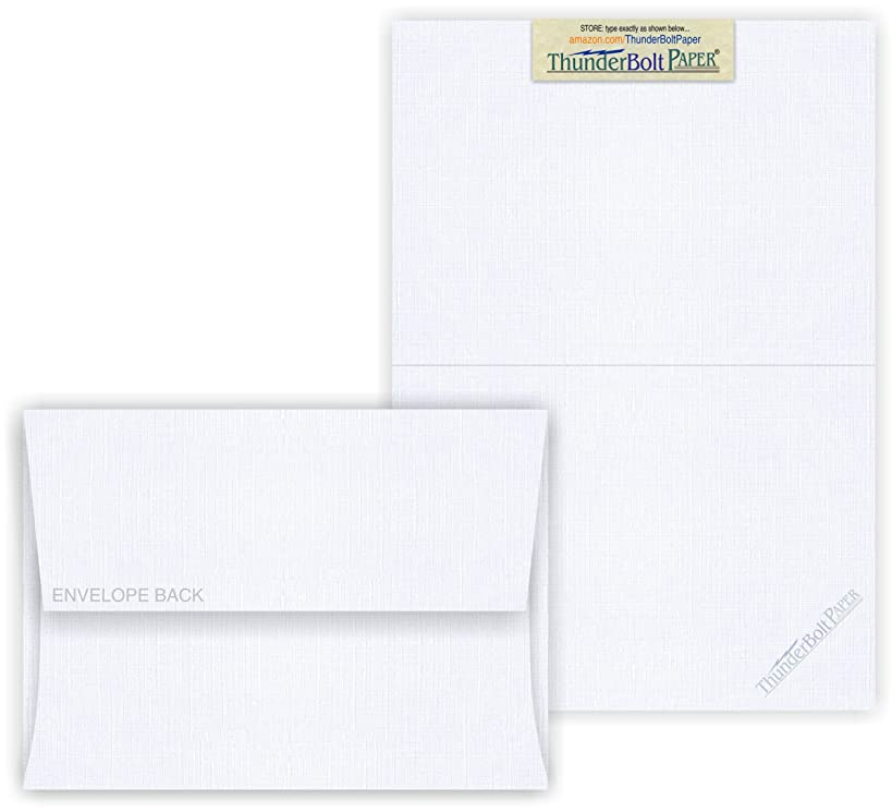 5X7 Folded Size with A-7 Envelopes - Bright White Linen - 50 Sets (7X10 Cards Scored to Fold in Half) Blank Matching Pack Invitations, Thank Yous, Notes, Occasions -80# Cardstock by Thunderbolt Paper