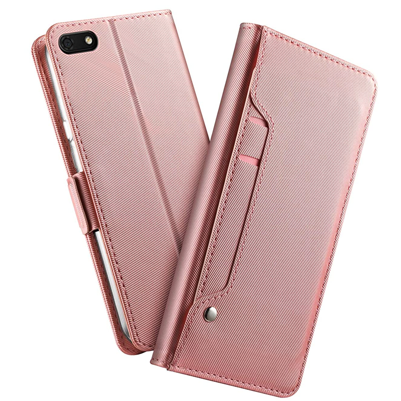Huawei Y5 Lite 2018 Case, BasicStock Ultra Thin Protective Pu Leather Book Wallet Case with Stand Function, Shockproof Soft Cover for Huawei Y5 Lite 2018(Rose Gold)
