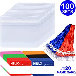 Cualfec ID Badge Holders with Lanyard and Name Badge Card Horizontal Clear Waterproof Plastic ID Holders Sets - 100 Sets