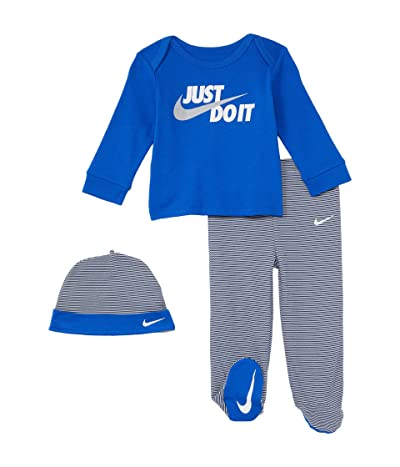 Nike Kids Long Sleeve T-Shirt Footed Pants and Hat Three-Piece Set (Infant)