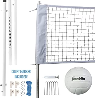 Franklin Sports Volleyball Net and Ball Set — Includes 1 Net with Stakes, 1 Volleyball, and 1 Ball Pump with Needle — Starter, Family, and Professional Set Options (Renewed)