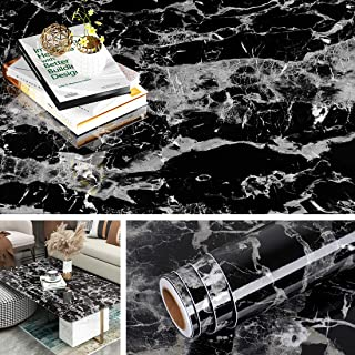 Yenhome Black Contact Paper for Countertops 17.7x196 inch Self Adhesive Wallpaper Glossy Black Peel and Stick Wallpaper for Desk Table Top Waterproof Removable Wallpaper for Kitchen Cabinets Shelves