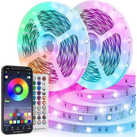 Ruban LED 20M RGB 600 LEDs Bande LED Multicolore App Contrôle, Led Ruban avec Télécommande à 40 Touches, Synchroniser avec Rythme de Musique/Fonction de Minuterie, pour Décoration, Cuisine, Mariage
